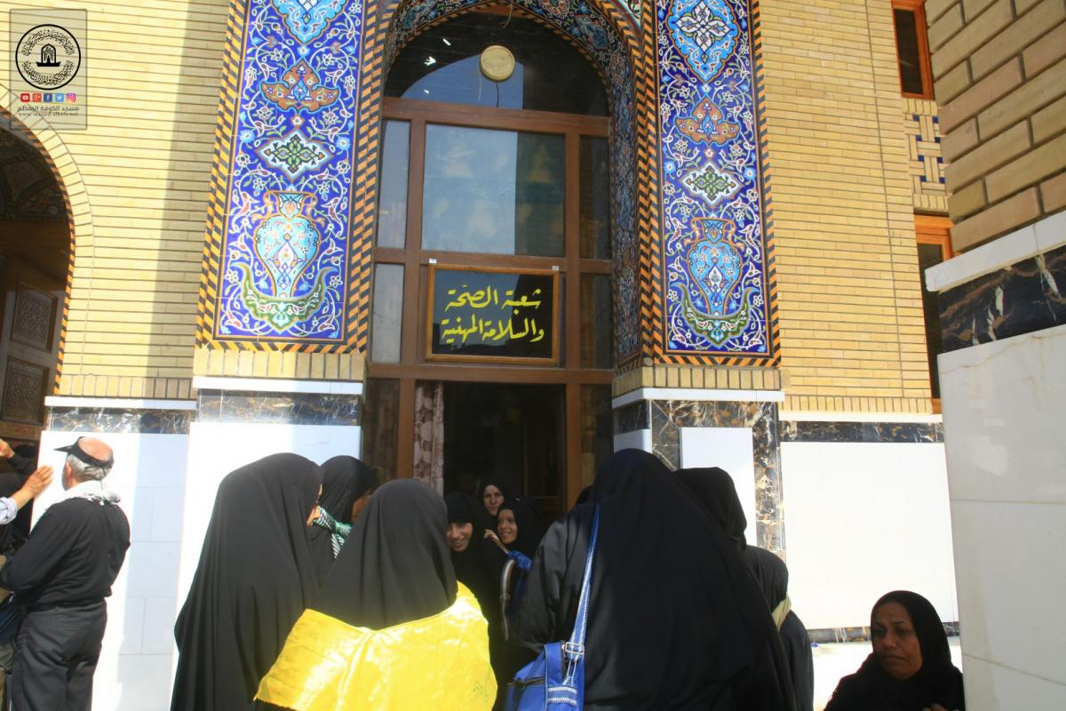 Medical Detachment at Alkufa Grand Mosque receives patients of Arbaeen visitors