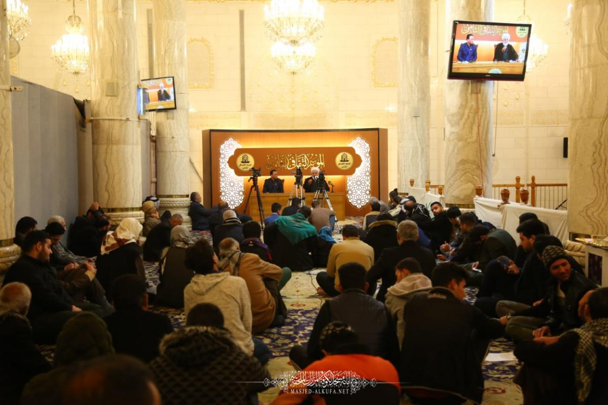In Pictures  Alkufa Grand Mosque Secretariat 8th Cultural Session Continues in delivering Fiqah, Guiding Lectures explaining Faithful's role in Building Society