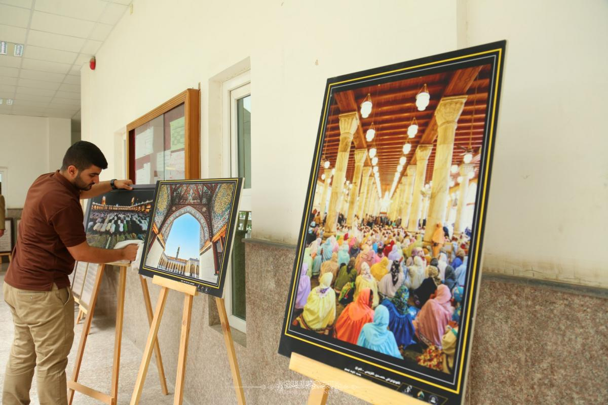 In pictures  Arrangements of Alkufa Grand Mosque Secretariat for participating in Exhibitions of Cultural Week  held by   Islamic University College