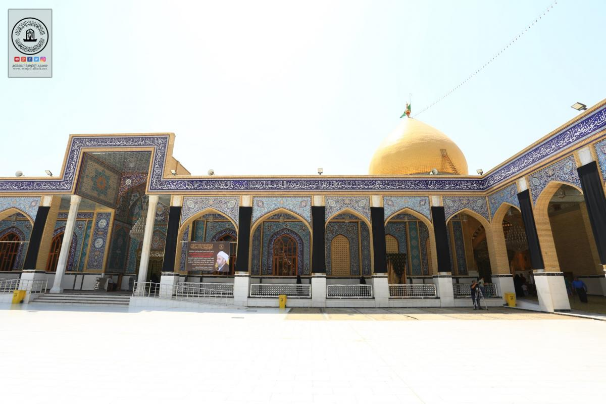 Alkufa Grand Mosque overwhelmed by blackness announcing sadness of month of  Muhram 1441 A.H