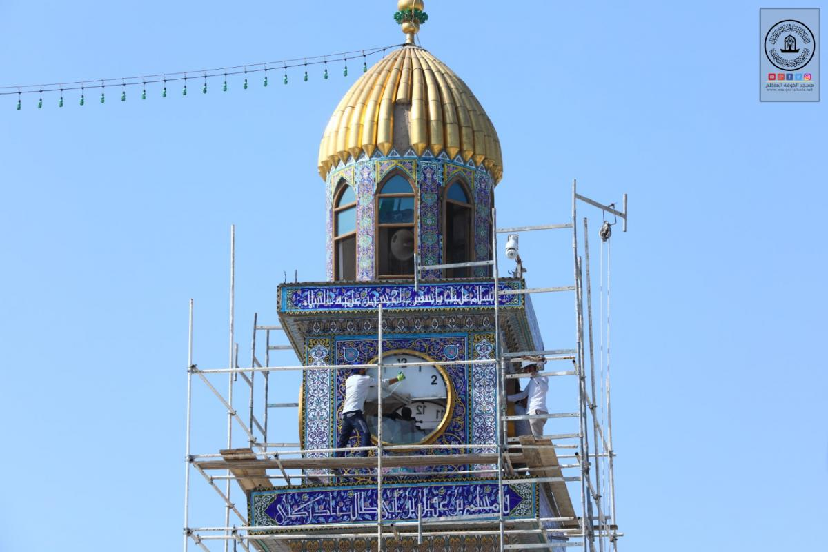 Starting renovation , replacing Karbala'e tiles of Clock Tower at Alkufa  Grand Mosque