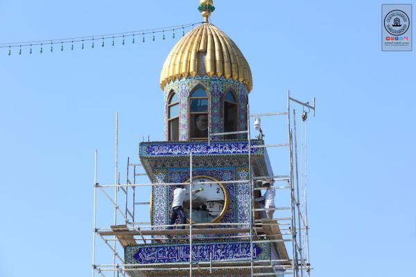 Starting renovation , replacing Karbala'e tiles of Clock Tower at Alkufa  Grand Mosque