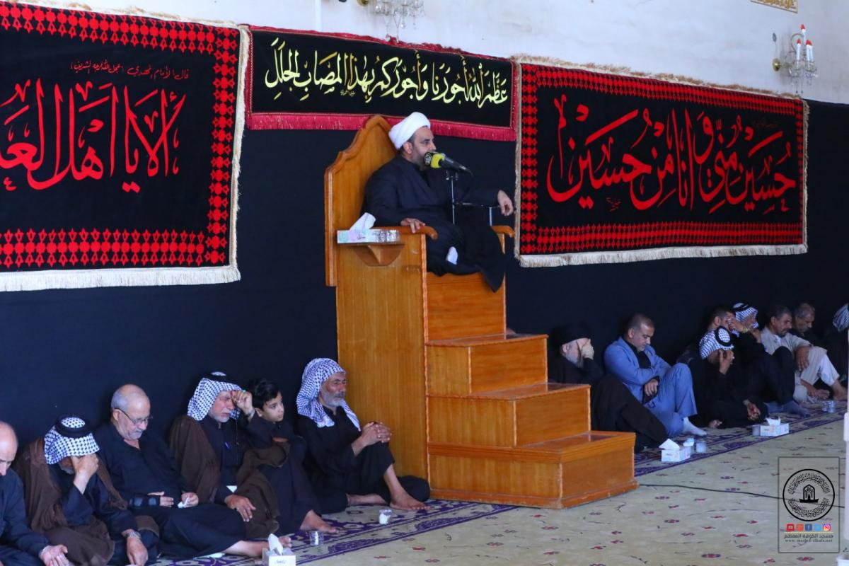 in pictures :7th day of   Memorial Service held by Alkufa Grand Mosque Secretariat  for commemorating sacrifices, tournaments of  Imam Hssein's Brother Alabbas Bin Ali Bin  Abi Talib ( AS)