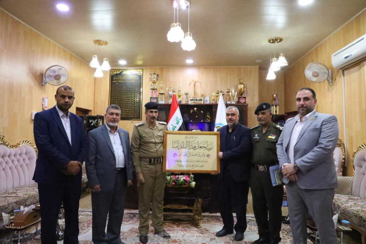 Alkufa Grand Msoque Delegation Congratulates  Commander of Annajaf Police for occupying his position
