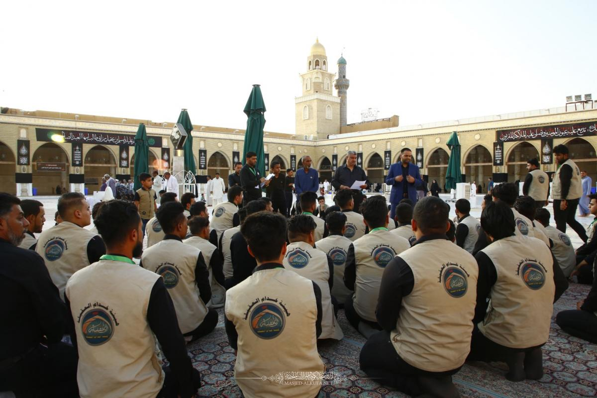 Alkufa Grand Mosque receives tens of volunteers for serving visitors on occasion of Moslem's Bin Aqeel ( AS) martyrdom