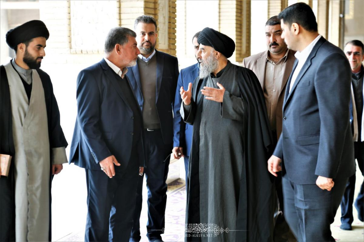 His eminence  Aytoallah Sayed  Almudarsy hails Architectural development, projects achieved by Alkufa Grand Mosque Secretariat