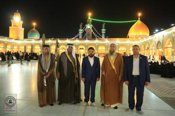 إمام جامع الرحمن في بعقوبة فضيلة الشيخ أحمد الصميدعي والوفد المرافق له يتشَّرف بزيارة مسجد الكوفة المعظم