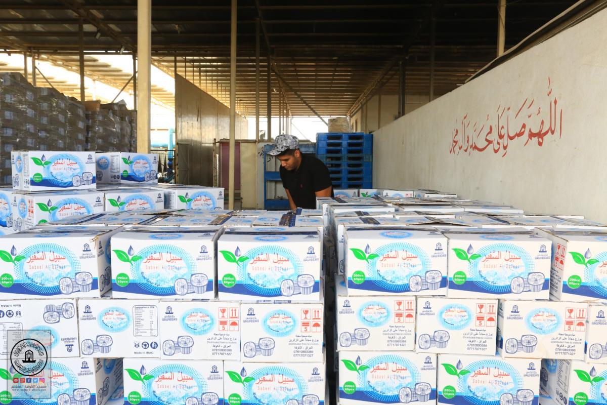 معمل مياه السفير يعمل بطاقة انتاجية عالية لتوفير مياه الشرب لزوار الأربعين