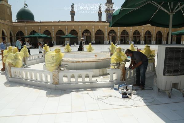 استمرار اعمال الصيانة في مقام السفينة وسط مسجد الكوفة المعظم