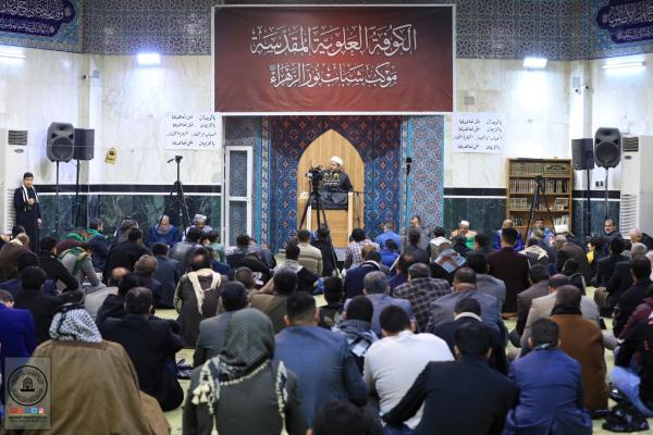 بالتعاون مع أمانة مسجد الكوفة موكب شباب نور الزهراء (ع) يقيم مجلس عزاء بذكرى شهادة الصديقة الطاهرة (ع) في مسجد الحمراء