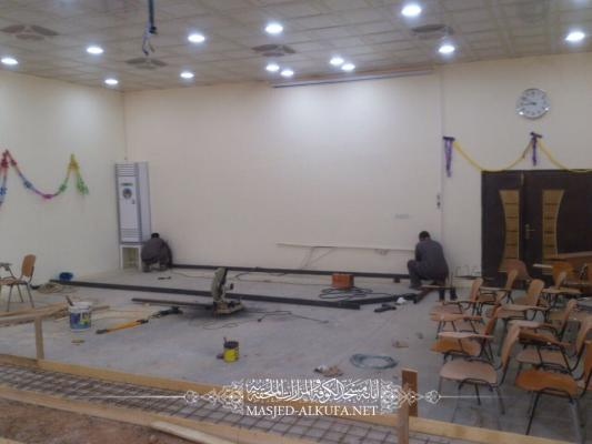 مهندسو أمانة مسجد الكوفة يواصلون تأهيل قاعة السفير  في جامعة جابر بن حيان الطبية