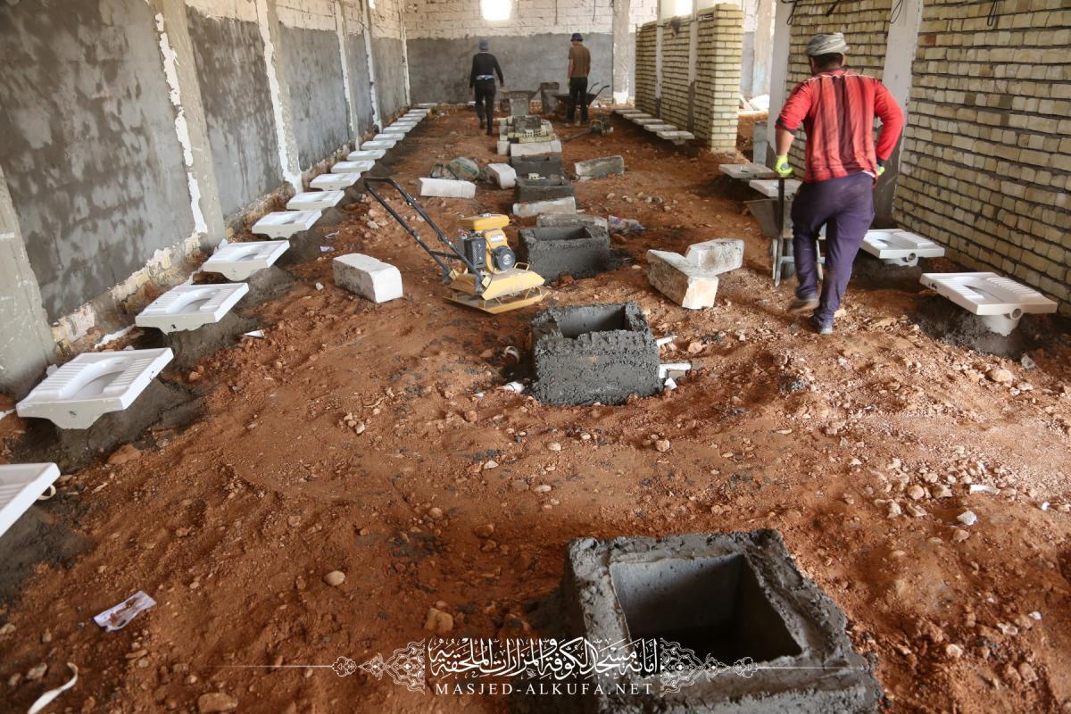 استمرار العمل في مشروع الصحيات الجديدة قرب باب الحجَّة لمسجد الكوفة المعظم