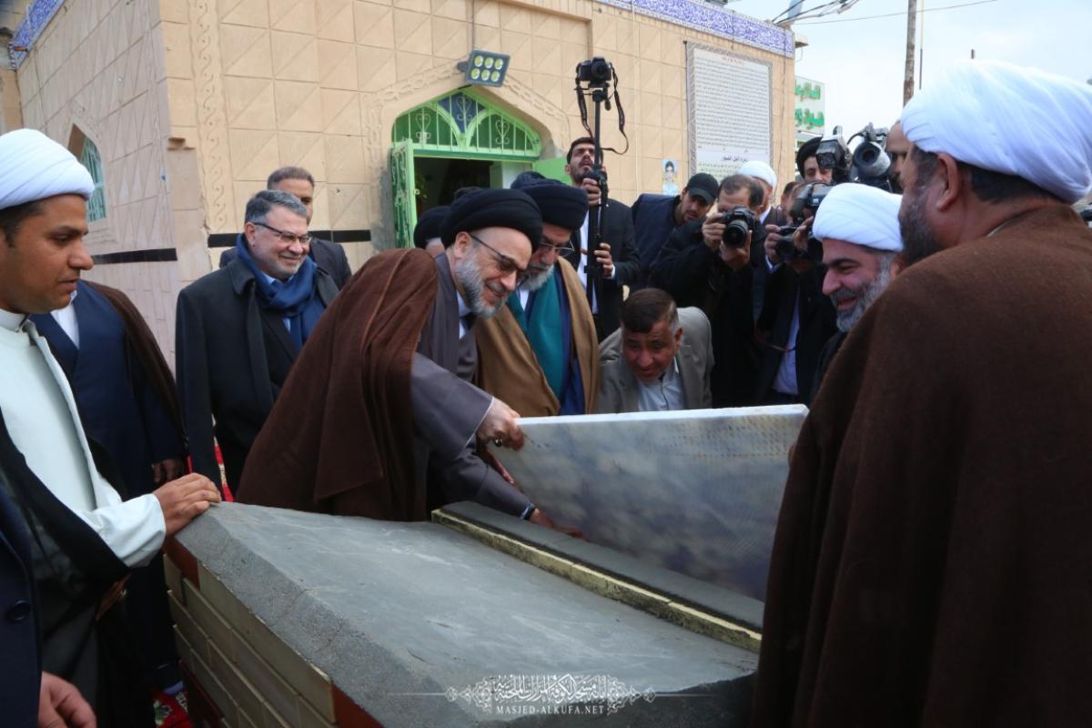 وضع حجر الأساس لإعمار مقام النبيين هود وصالح (عليهما السلام) بحضور وفد أمانة مسجد الكوفة