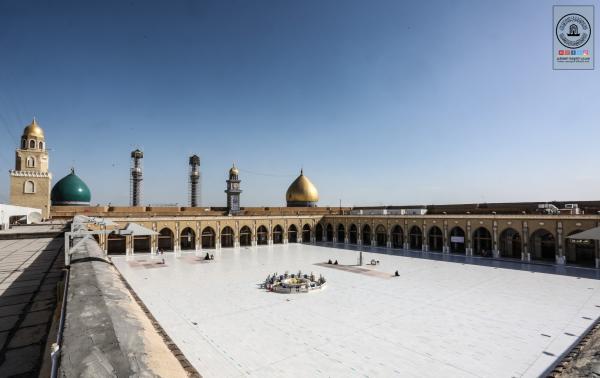 مسجد الكوفة المعظم يشهد اجراءات السلامة لمنع انتشار جائحة كورونا