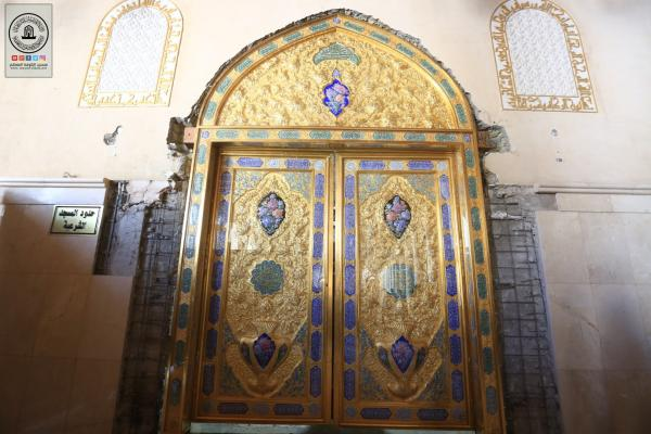 تغيير باب حضرة مسلم بن عقيل (ع) المطلة على مسجد الكوفة وسيتم افتتاحها في ذكرى ولادة المجتبى (ع)