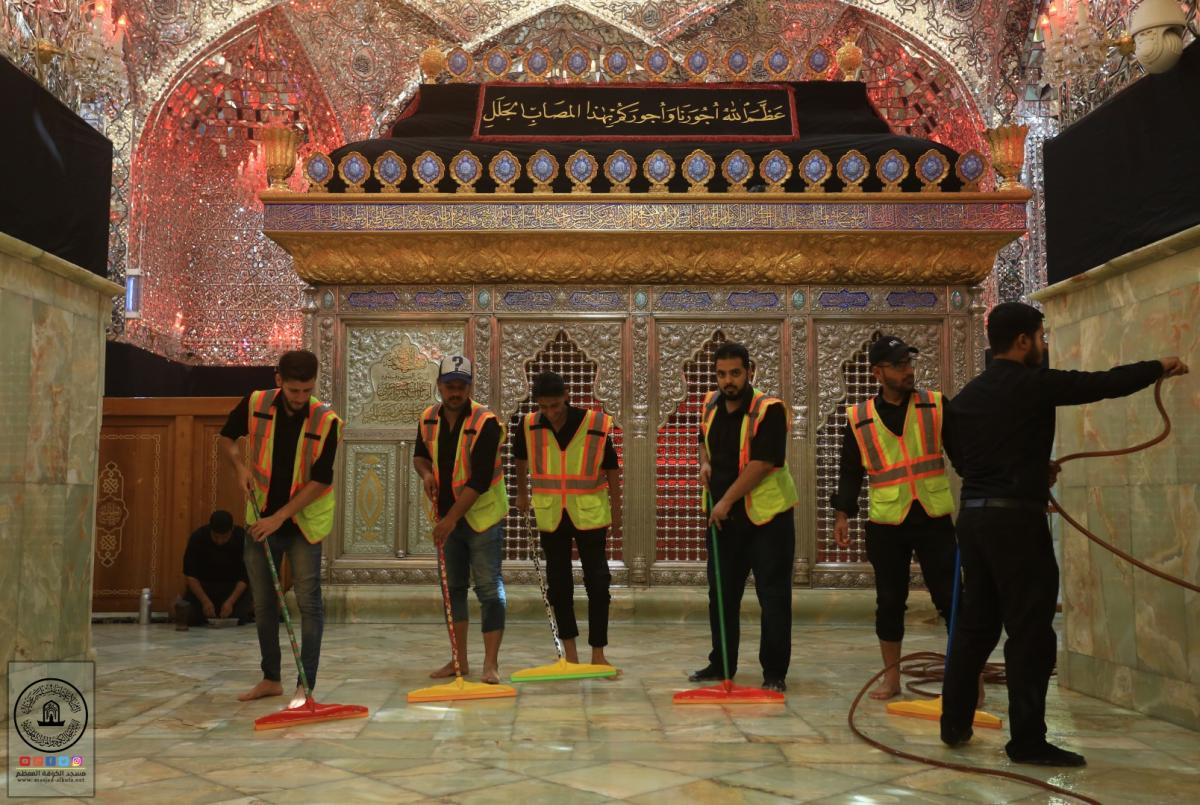 قسم الخدمات في مسجد الكوفة المعظم يواصل استعداداته لاستقبال زوار الأربعين