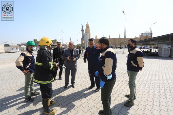 بذكرى شهادة الرسول الاعظم (صلى الله عليه وآله وسلم) السلامة المهنية تمارس عملية الدفاع المدني في محيط مسجد الكوفة