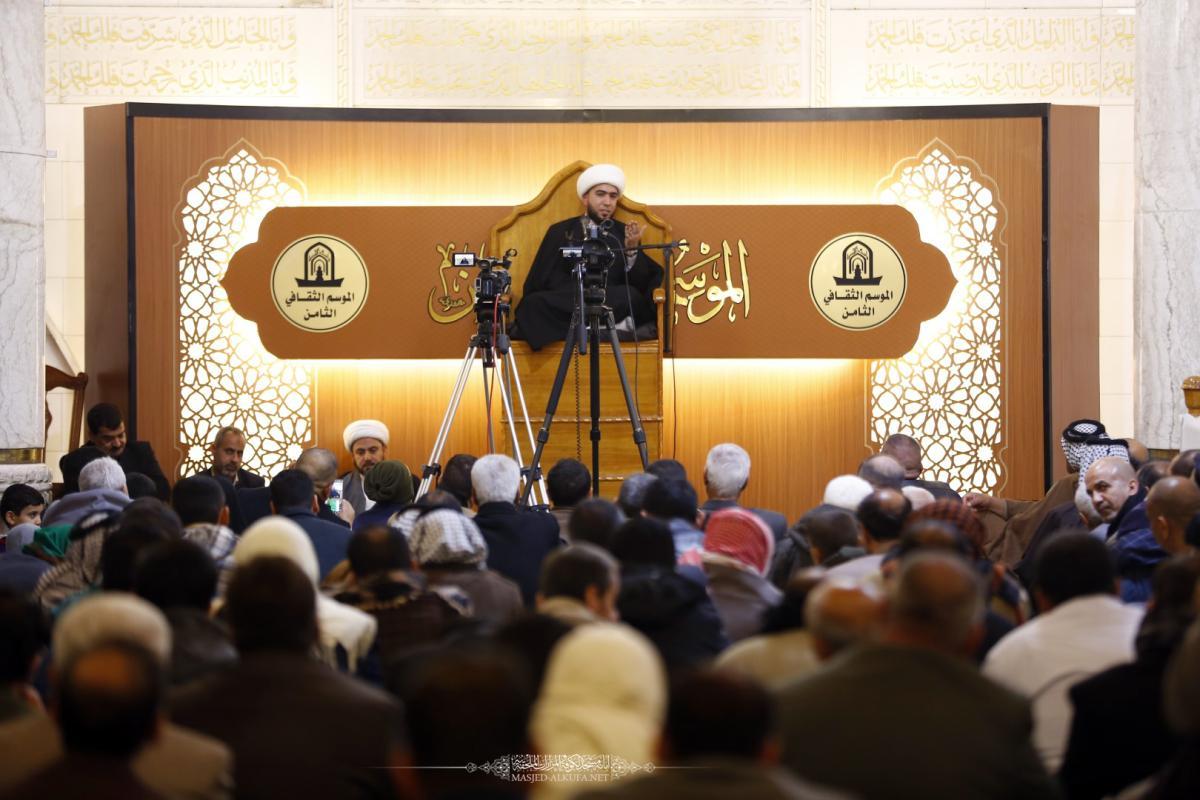 أمانة مسجد الكوفة تقيم مجلس العزاء الأسبوعي ومحاضرة عن ولاية أهل البيت (عليهم السلام)