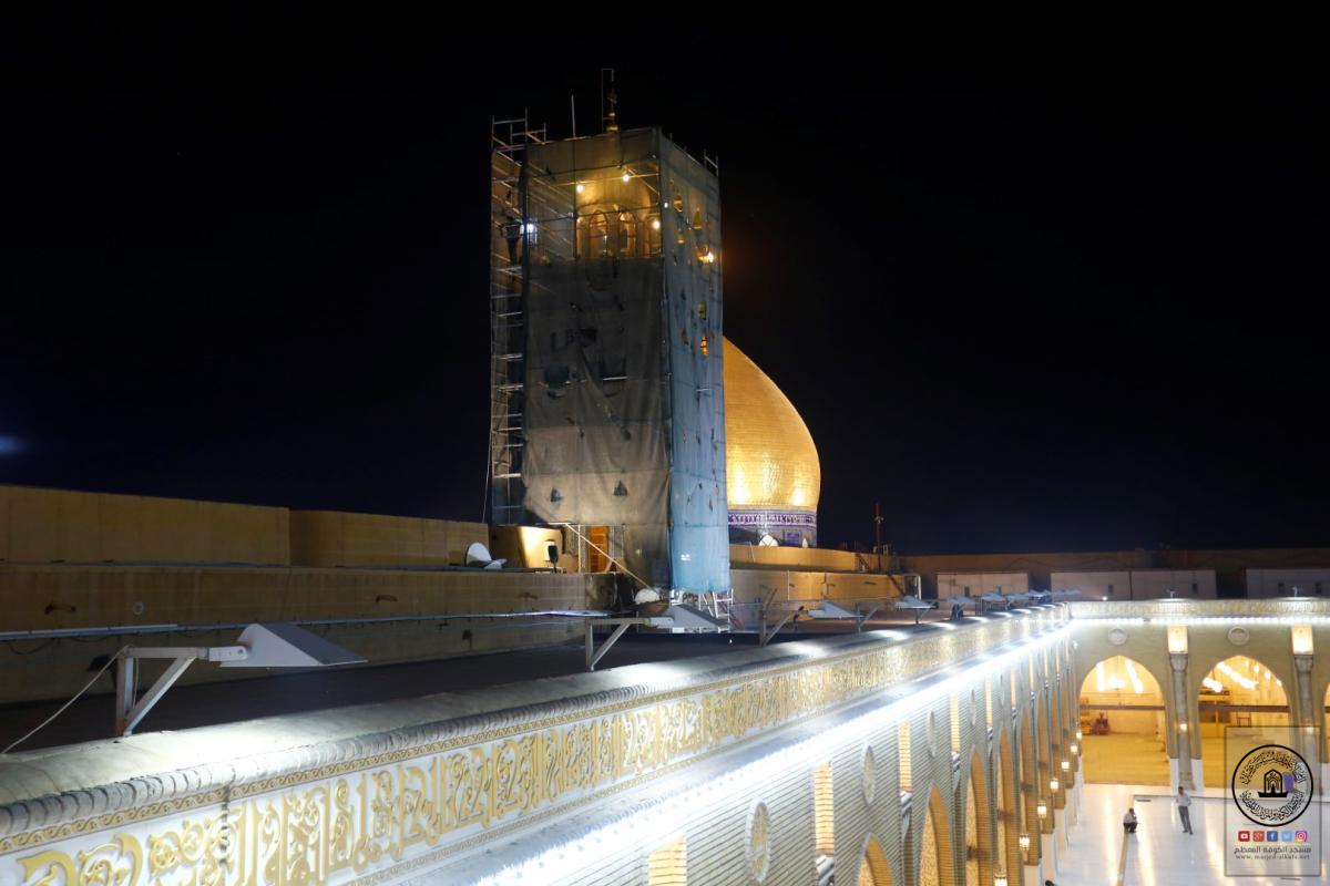 استمرار العمل بمشروع صيانة منارة الساعة في صحن مسلم بن عقيل (عليه السلام