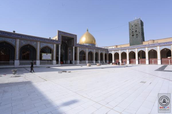 استمرار العمل بصيانة أرضية صحن مسلم بن عقيل (عليه السلام)