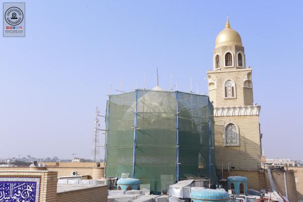 المباشرة بصيانة القبة الخارجية لمرقد مزار الصحابي هانئ بن عروة (رضوان الله عليه)