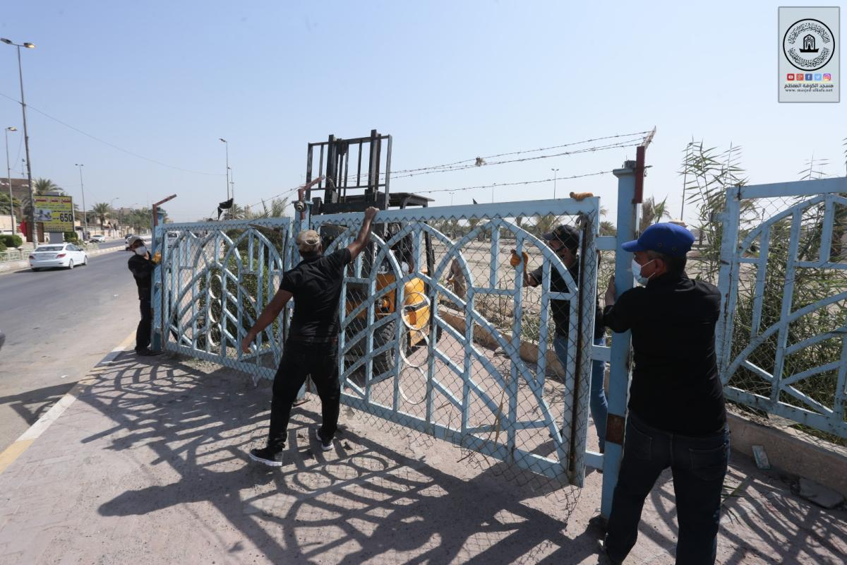 المباشرة بالمرحلة الثانية لإنشاء السياج الامني في المنطقة المحيطة بين مسجد الكوفة مزار التمَّار