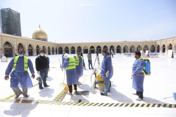 هيئة الحشد الشعبي  تقوم بحملة وقائية من الأوبئة لمسجد الكوفة والمراقد الطاهرة جواره